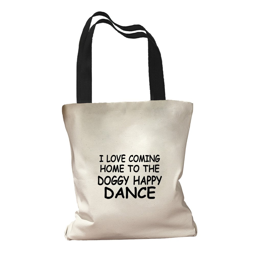 I Love Coming To The Doggy Happy Dance Canvas Colored Handles Tote - Black
