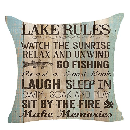 Retro Wood Grain Background Lake Rules Watch The Sunrise Relax Go Fishing Make Memories Cotton Linen Throw Pillowcase Personalized Cushion Cover NEW Home Office Decorative Square 18 X 18 Inches