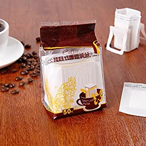 Disposable Drip Cafe Coffee Filter Easy Portable Drip Coffee. At School. In the Workplace.When I go Out. -50pack