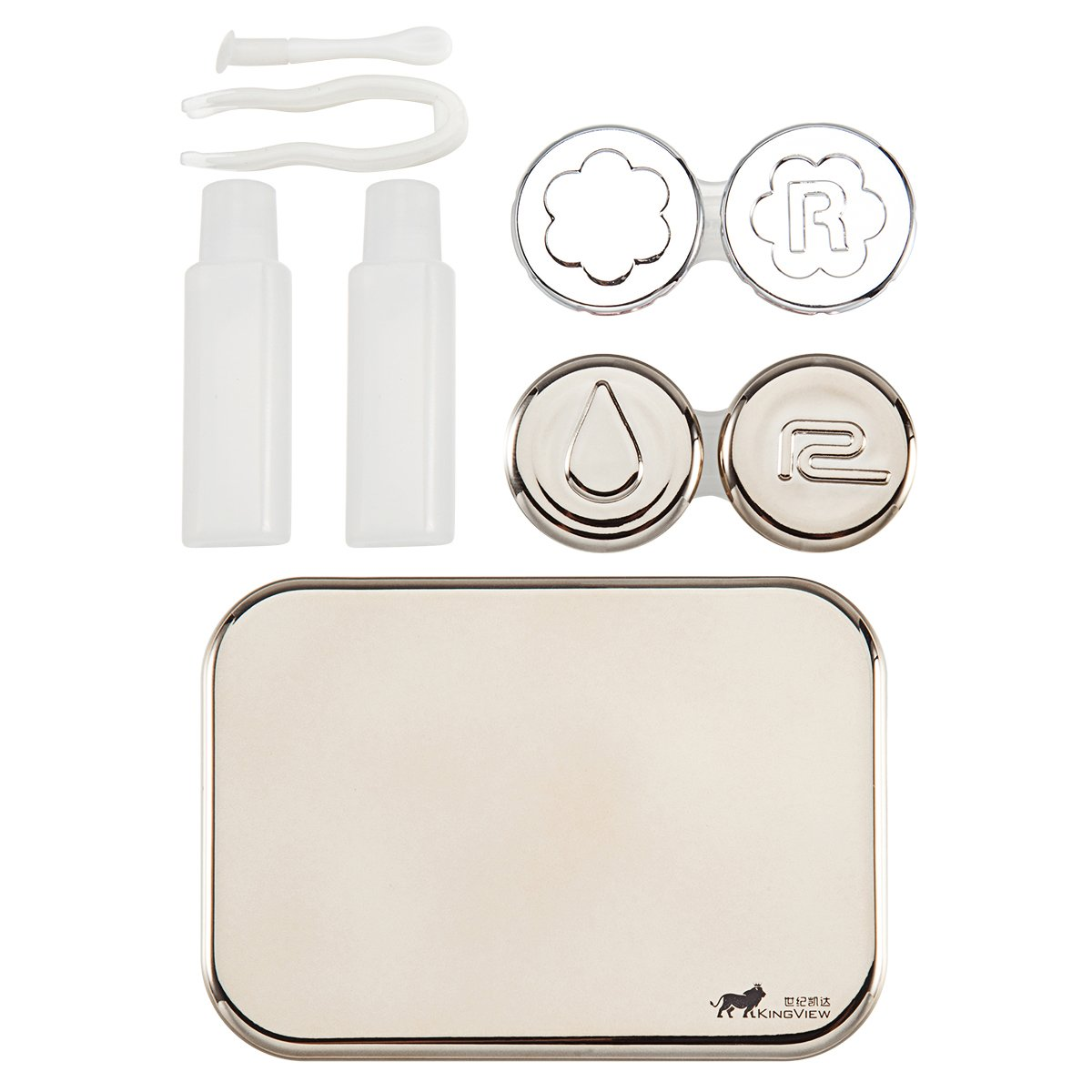 Bissport Cute Contact Lens Case Travel Kit Holder With Mirror (Gold) by Bissport (Image #1)