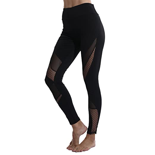 e7a1352382 YOFIT Women's Stretchy Skinny Sheer Mesh Insert Workout Leggings Yoga  Tights Yoga Pants Gym Fitness Workout