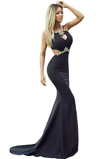 LOVEOURS,Diamond Embellished Sexy Cutout Black Mermaid Evening Prom Dress ((UK12-14