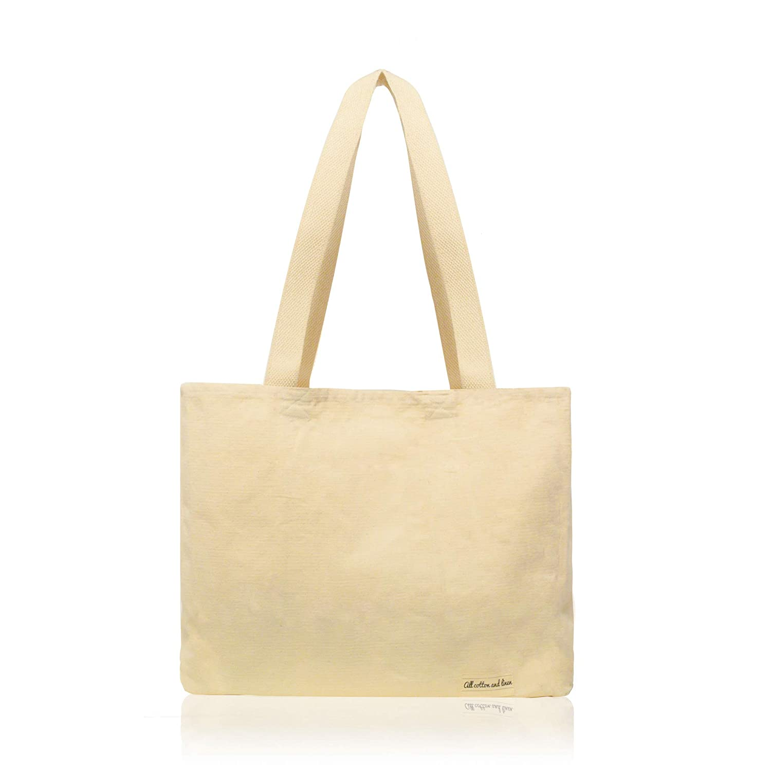 """(14  Hx17  W x 5"""") - 1 Pack   canvas tote bag canvas shopping bags for  women grocery bags by All Cotton and Linen, 100% GOTS Certified organic  cotton, ... cf940c8bbf"""