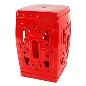 Ordinaire Square Garden Stool In Red