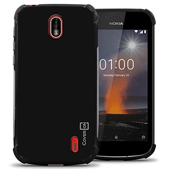 first rate b06d3 1cdb8 Nokia 1 Case, CoverON FlexGuard Series Slim Fit TPU Phone Cover with  Anti-Slip Grips and Corner Shock Padding for Nokia 1 (2018) - Black