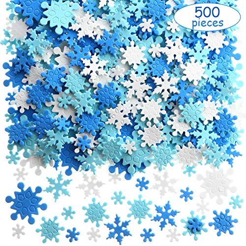 500 Pieces Mini Foam Snowflake Stickers Self-Adhesive Snowflake Stickers Decals for Christmas Decoration (Style 1)