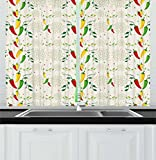 Cheap Lunarable Vegetables Kitchen Curtains, Gourmand Peppers on Swirl Branches Mexican Food Hot Sauce Image, Window Drapes 2 Panel Set for Kitchen Cafe, 55 W X 39 L Inches, Fern Green Red Yellow Cream