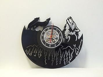 Amazon wolf vinyl wandklok art gift kamer moderne home record