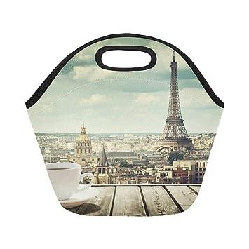 Neopreno aislado Bolsa de almuerzo Taza Café Torre Eiffel ...