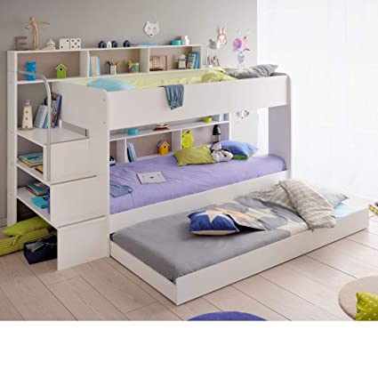 Storage Bunk Bed With Trundle Guest Bed Happy Beds Bibop 2 White