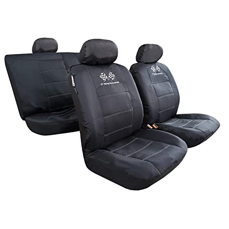 Juego de Fundas de Asiento de Coche Delanteras Impermeables de 2 Piezas Protector de Asiento de Cubo de Ajuste Universal Airbag Compatible para autom/óviles SUV Truck Gris