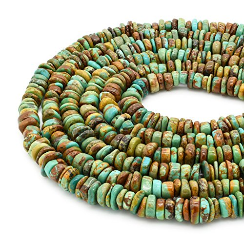 Bluejoy Genuine Natural American Turquoise 7.5mm Free-Form Disc Bead 16 inch Strand for Jewelry Making