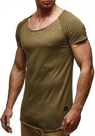 LEIF NELSON Herren T-Shirt Tiefer Rundhalsausschnitt   Basic Shirt Kurzarm  Oversize   Männer T d38eceab8c