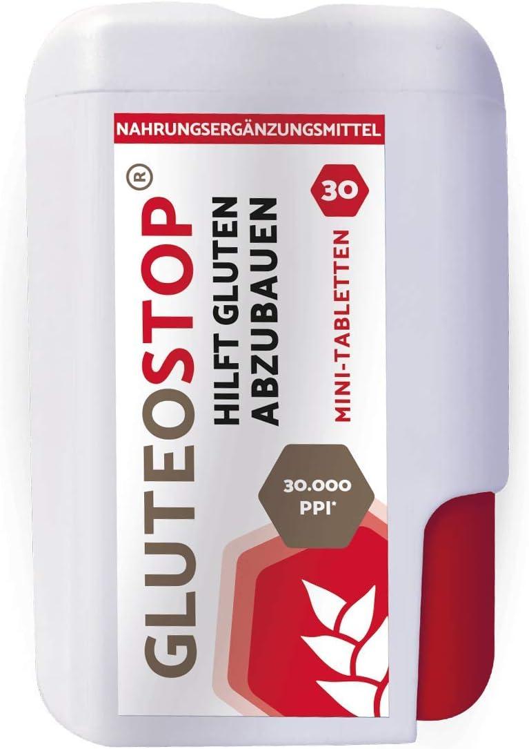 GluteoStop® - ayuda a descomponer el gluten - 30 mini tabletas - sensibilidad al gluten - dieta sin gluten - enzima gluten