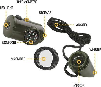7 en 1 br/újula de silbato XYXY 7 en 1 Supervivencia Bushcraft Silbato de trekking con br/újula de espejo y lupa