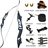D&Q Takedown Recurve Bow Set 30 35 40 45 50 lbs Adult Hunting Shooting Target Practice Competition Archery Survival Longbow Package Kit with Bow Stringer Right Handed