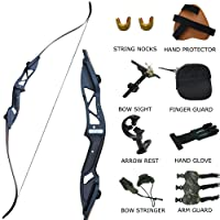"D&Q Adult Recurve Bow Set Takedown Survival Bow 30 35 40 45 50 lb Right Handed 54.7"" Metal Riser Athletic Hunting Training Shooting Target Practice Competition Longbow Combo Package Kit Black"