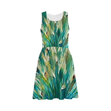 c31d2e43fe3 D-Story Custom Sundress Green Peacock Feather Women Sleeveless ...