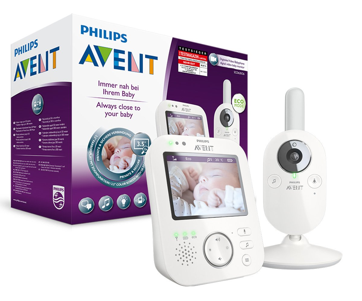 Philips Avent Video-Babyphone SCD630/26, 3,5 Zoll Farbdisplay, ECO-Mode, 10 Std. Akku, weiß/grau weiß/grau