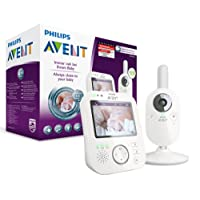 Philips Avent Video-Babyphone, 3,5 Zoll Farbdisplay, ECO-Mode, 10 Std. Akku, SCD630/26, weiß/grau