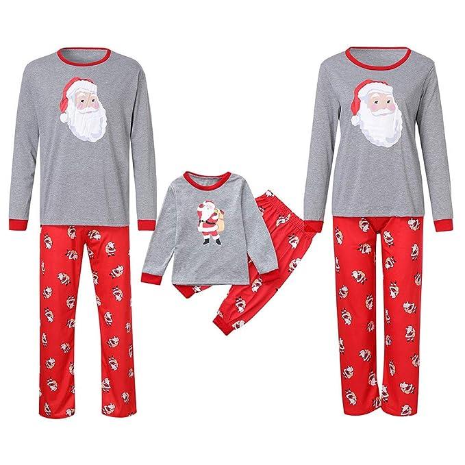 760418516618 Mambain Pigiama Natalizio, Pigiami Tute Due Pezzi Pantaloni + Maglietta  Stampe Babbo Natale Bambino Donnauomo
