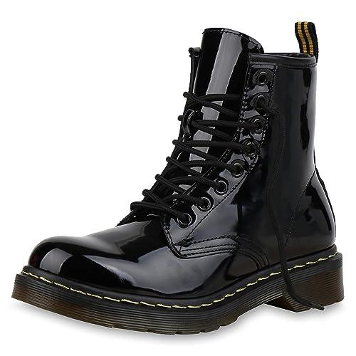 SCARPE VITA Damen Stiefeletten Worker Boots Leicht Gefüttert mit Blockabsatz Lack