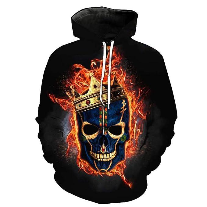 Fire Skull Casual Sudaderas con Capucha 3D Sudaderas Unisex Hip Hop Pullover: Amazon.es: Ropa y accesorios