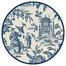 Caspari Entertaining with Silk Road Toile Salad/Dessert Plates, Blue, 8-Pack