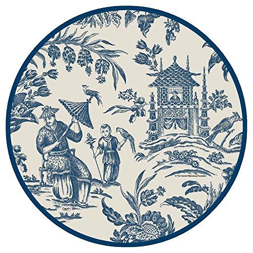 (Entertaining with Caspari Silk Road Toile Dinner Plates, Blue,)