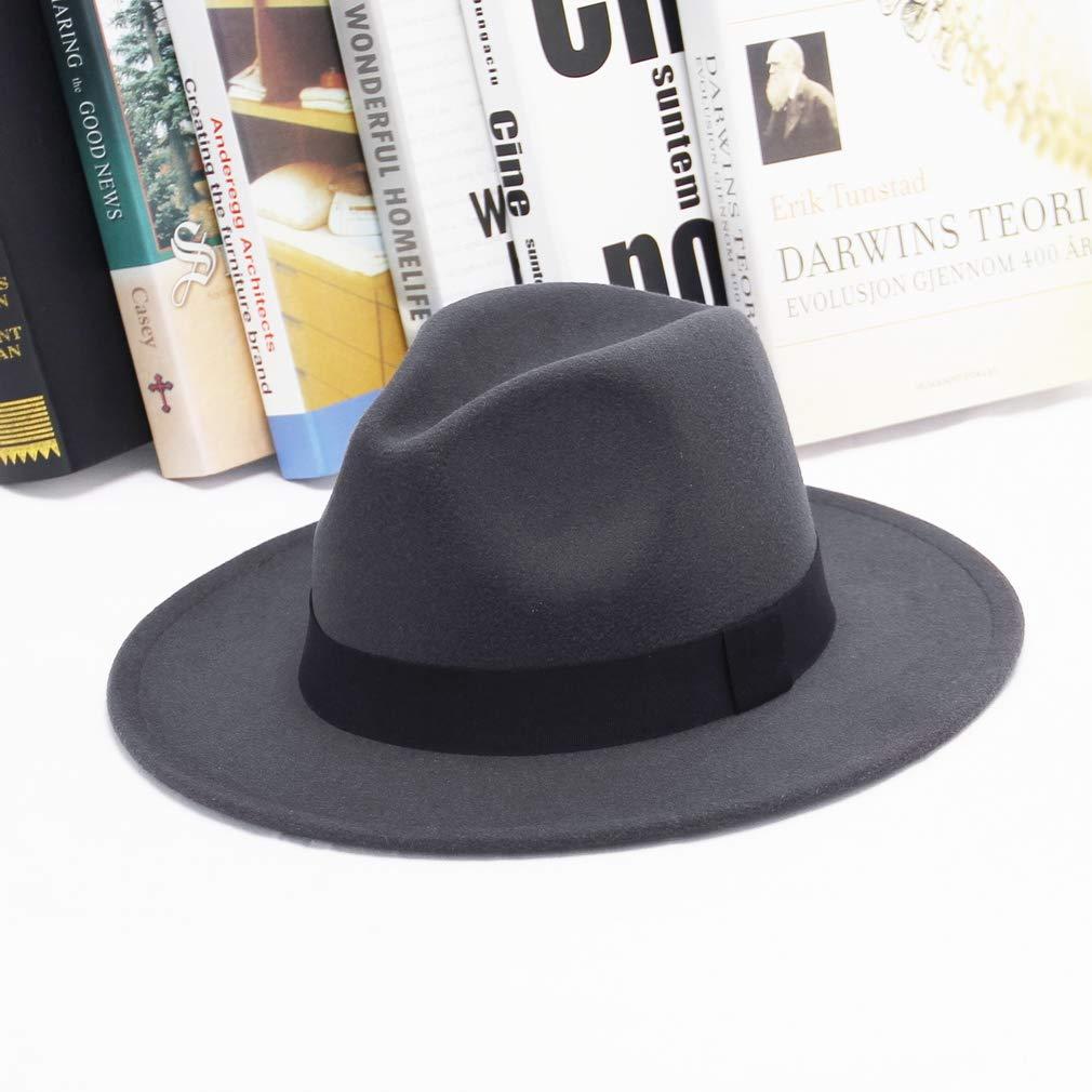 EOZY-Cappello Panama Vintage Uomo Unisex Fedora in Cotone Classico Bombetta Jazz Berretto Tinta Unita Decorazione Cintura