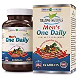 Amazing Naturals MEN'S ONE DAILY Multivitamin * Best Raw Whole Food Multivitamins For Men * 60 Tablets Per Bottle. Packed With The Goodness Of Over 30 Organic Vegetables For Sale
