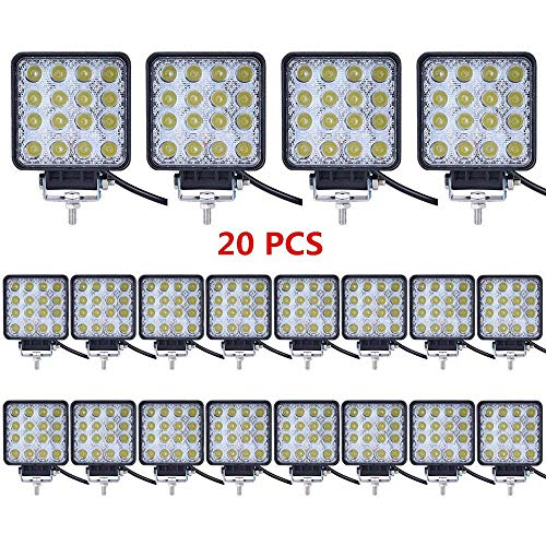 Turboo-Led-Light-Bar-20PCS-4inch-48W-Led-Work-Light-Square-Flood-Lights-Off-Road-Lights-Led-Lights-for-TrucksOff-Road-Vehicle-ATV-SUV-UTV-4WD-Jeep-Boat-and-More