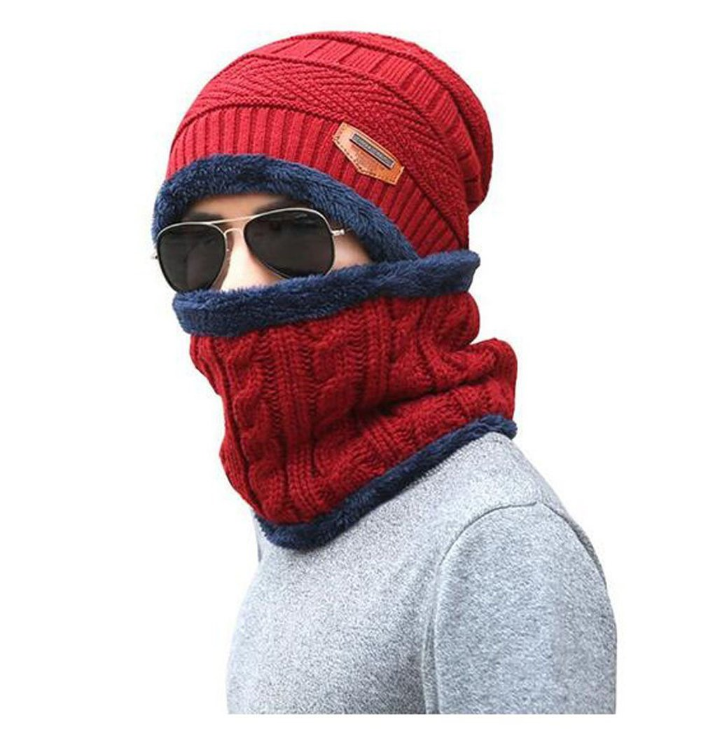 1Set(2PCS) Men Winter Warm Scarf and Knitted Beanie Hat Cap- Neckerchief Soft Shawl Scarves for Ski Outdoor Sports Wear (Red)