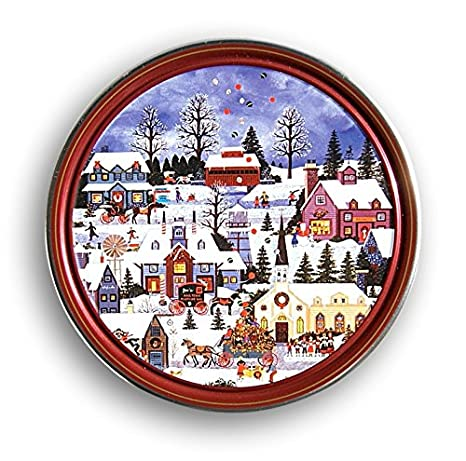 Christmas Tin Cookies.Christmas Holiday Butter Cookies Tin Nostalgic Village Scene