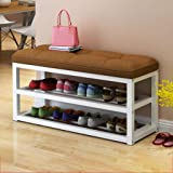 Bench with shelf for shoes on 2 levels with padded seat, shoe rack for corridor, shoe rack with metal frame, for…