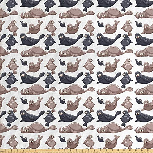 Ambesonne Sea Animals Fabric by The Yard, Seals Illustration Sea Lion Exotic Tropical Comic Graphic Wild Ocean, Decorative Fabric for Upholstery and Home Accents, 1 Yard, Cadet Blue ()