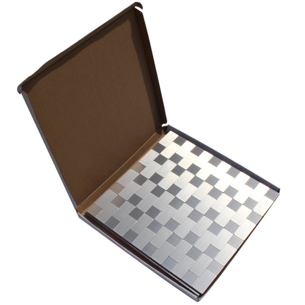 Peel and Stick Tile Backsplash, 4 Sheets Metal Tile for Kitchen, Removable Waterproof Wallpaper Decor, 12'' x 12''