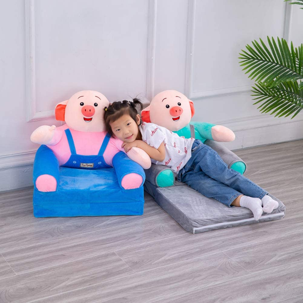 JKBB Happy piggy children's sofa, children's tatami sofa bed, double-layer high-density soft sponge, foldable, removable cleaning, 50x50x76cm (Brown) Blue