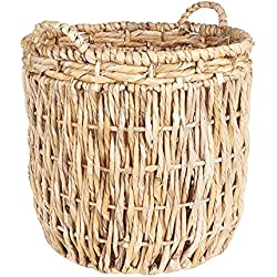 Household Essentials ML-6649 Tall Round Floor Storage Basket with Handles, Light Brown