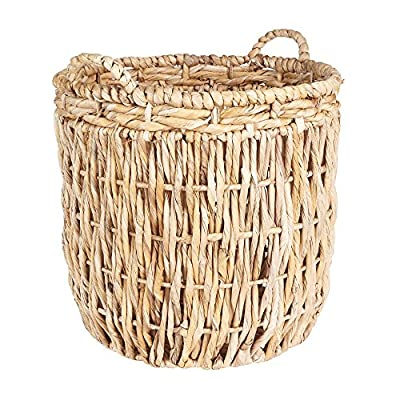Household Essentials ML-6649 Tall Round Floor Storage Basket with Handles, Light Brown - Large round floor basket with vertical weave Hand-woven from corn leaf, rope and banana leaf Extra tall for ample storage space - living-room-decor, living-room, baskets-storage - 61IpZOeEAzL. SS400  -