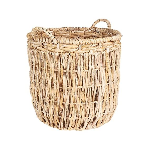 Household Essentials Brown Tall Round Wicker Storage Basket - Large round floor basket with vertical weave Hand-woven from corn leaf, rope and banana leaf Extra tall for ample storage space - living-room-decor, living-room, baskets-storage - 61IpZOeEAzL. SS570  -