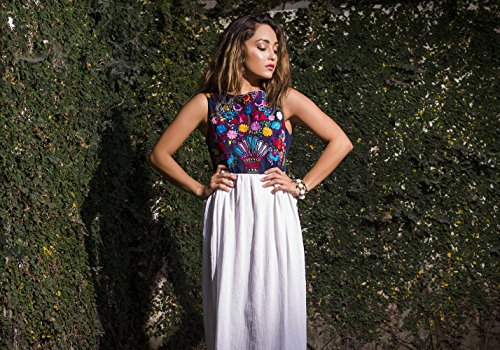 Mexican Embroidered Maxi Dress Dhelia in Navy Active by Erica Maree