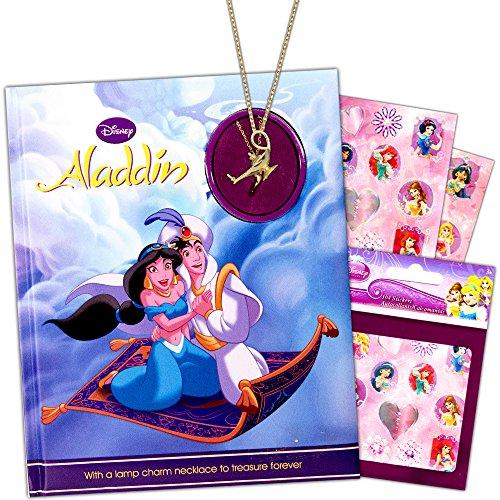 Disney Aladdin Story Book Set -- Deluxe Hardcover Aladdin Book, Lamp Charm Necklace and Over 100 Disney Princess Stickers (Princess Jasmine Toys)
