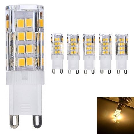 5X G9 Lámpara Bombillas LED 5W 51*SMD 2835 Luz Bombilla 380 LM 3000K Blanco
