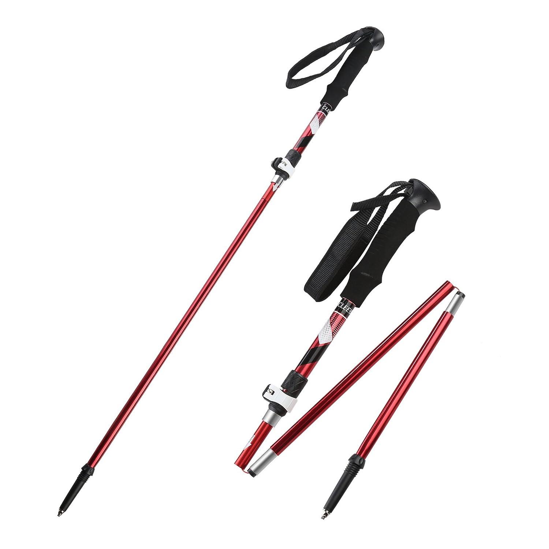 全商品オープニング価格! CLEEBOURG トレッキングポール 登山 滑り止め 折りたたみ式 アルミ製 ハイキングポール B07F3WC95Q 軽量 ハイキング/ウォーキング/トレッキング トレイルポール 耐衝撃 滑り止め ウォーキングスティック ハイキング 登山 キャンプ用 2個セット B07F3WC95Q レッド, チヅチョウ:5ecc5720 --- a0267596.xsph.ru