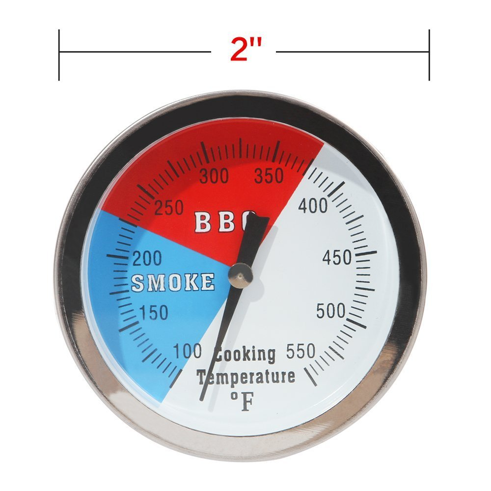 SHINESTAR 2 550F BBQ Charcoal Grill Pit Wood Smoker Temp Gauge Grill Thermometer with 2.5 Stem SS RWB -Fahrenhite 100 to 550F (1 Pack) SS_2C
