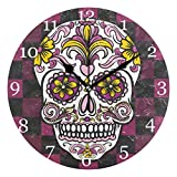 KUWT Plaid Mexican Sugar Skull Wall Clock Silent Non-Ticking 9.5 Inch Round Clock Acrylic Art Painting Home Office School Decor