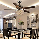LuxureFan Retro Crystal Ceiling Fan Light with Elegant Crystal Cover and 5 Premium Metal Leaves Elegant for Modern Living Room Restaurant Pull Chain Control of 48Inch