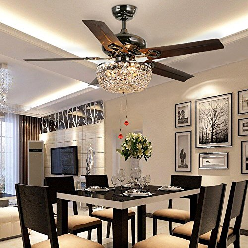 - LuxureFan Retro Crystal Ceiling Fan Light with Elegant Crystal Cover and 5 Premium Metal Leaves Elegant for Modern Living Room Restaurant Pull Chain Control of 48Inch