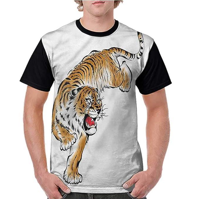 Amazon.com: Blusa de manga corta, tigre, japonesa dibujada a ...